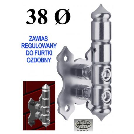 Zawias regulowany furtki D38 - ozdobny.