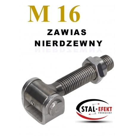 Zawias M16 nierdzewny - ucho gięte.