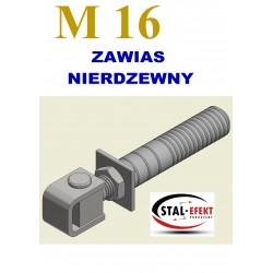 Zawias M16-k ucho gięte + z tuleją / nierdzewny.