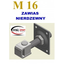 Zawias M16-k ucho gięte + podstawa / nierdzewny.