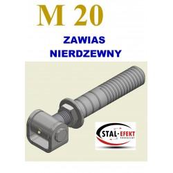 Zawias M16 ucho gięte / z podstawą - nierdzewny.